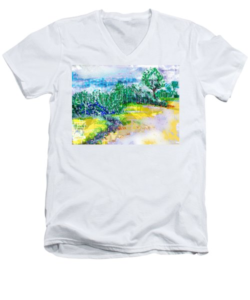 Men's V-Neck T-Shirt featuring the drawing Beyond The Clouds by Seth Weaver