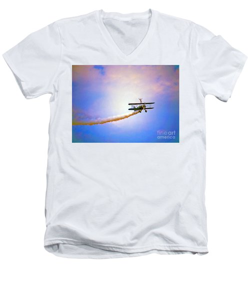 Bi-plane And Wing Walker Men's V-Neck T-Shirt