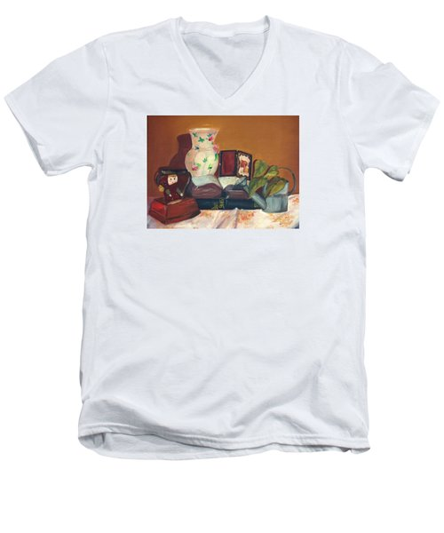 Men's V-Neck T-Shirt featuring the painting Bible Stories by Jane Autry