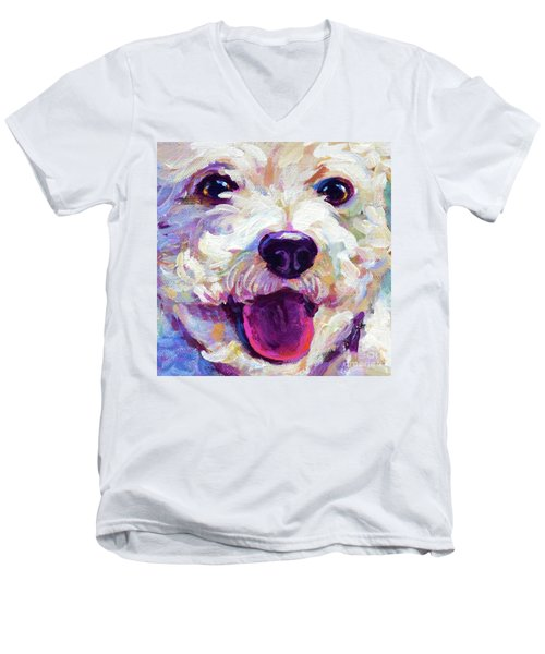 Men's V-Neck T-Shirt featuring the painting Bichon Frise Face by Robert Phelps