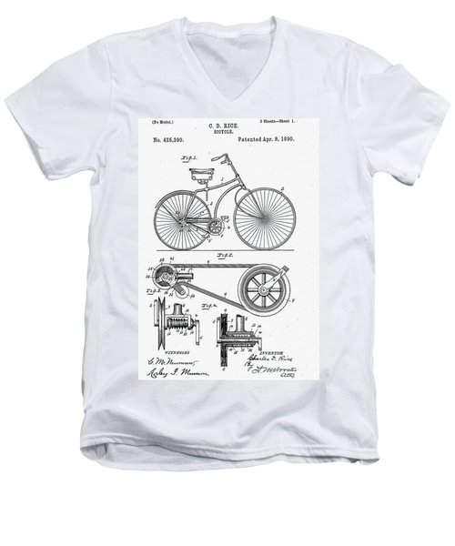 Bicycle Patent 1890 Men's V-Neck T-Shirt