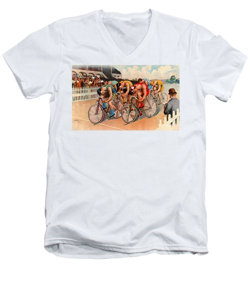 Bicycle Race 1895 Men's V-Neck T-Shirt by Padre Art