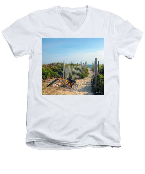 Men's V-Neck T-Shirt featuring the photograph Bicycle Rest by Madeline Ellis