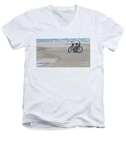 Bicycles On The Beach Men's V-Neck T-Shirt