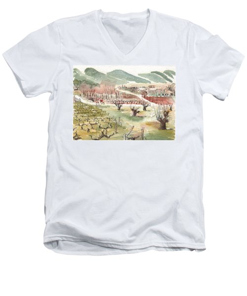 Bicycling Through Vineyards Men's V-Neck T-Shirt by Tilly Strauss