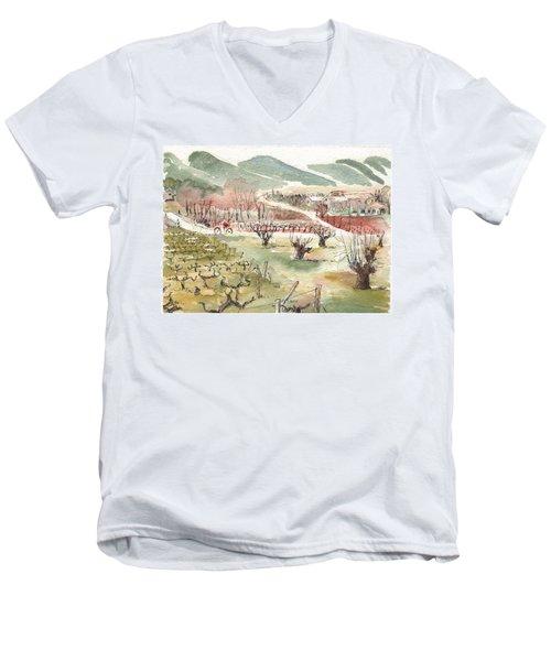 Bicycling Through Vineyards Men's V-Neck T-Shirt