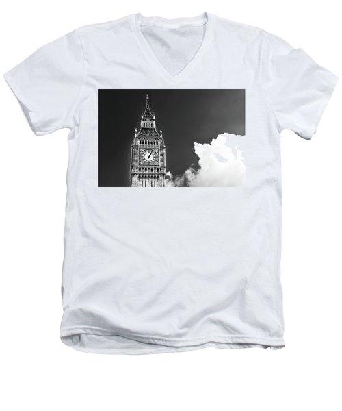 Big Ben With Cloud Men's V-Neck T-Shirt