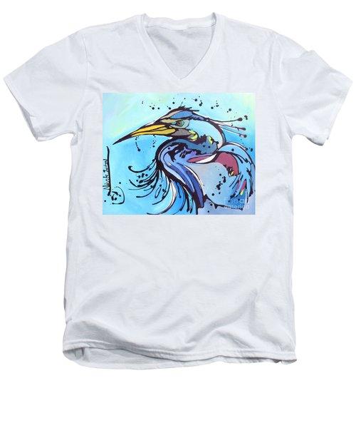 Big Blue Men's V-Neck T-Shirt by Nicole Gaitan
