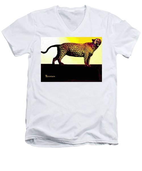 Big Game Africa - Leopard Men's V-Neck T-Shirt by Sadie Reneau