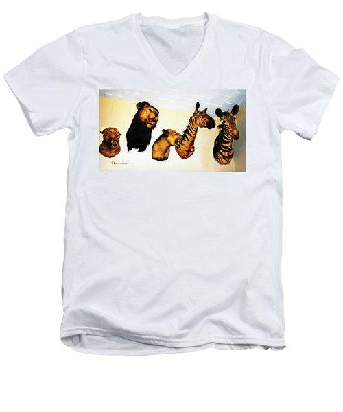 Big Game Africa - Zebras And Lions Men's V-Neck T-Shirt
