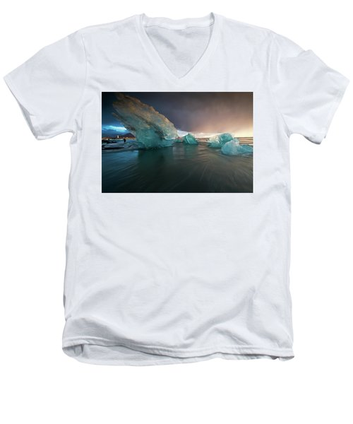 Big Ice Men's V-Neck T-Shirt by Allen Biedrzycki
