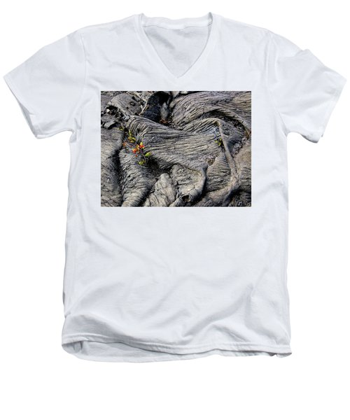 Big Island Lava Flow Men's V-Neck T-Shirt by Amelia Racca
