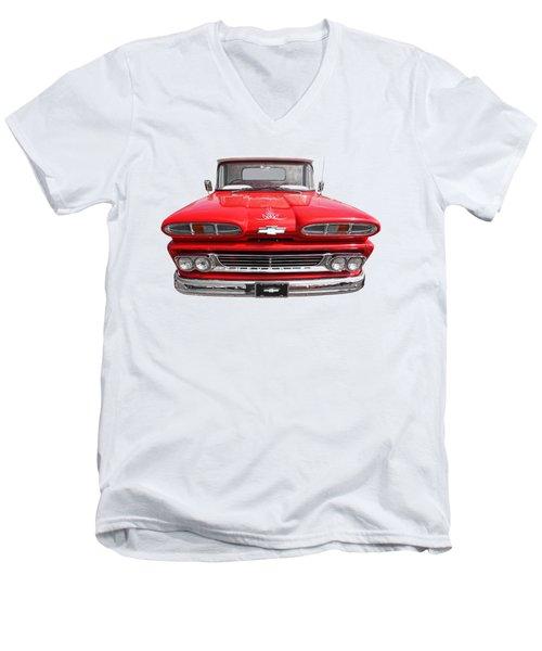 Big Red - 1960 Chevy Men's V-Neck T-Shirt by Gill Billington