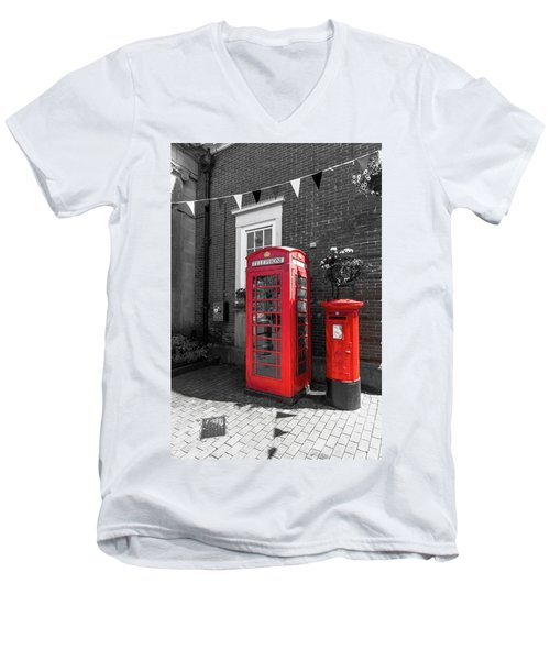 Men's V-Neck T-Shirt featuring the photograph Big Red Little Red by Scott Carruthers