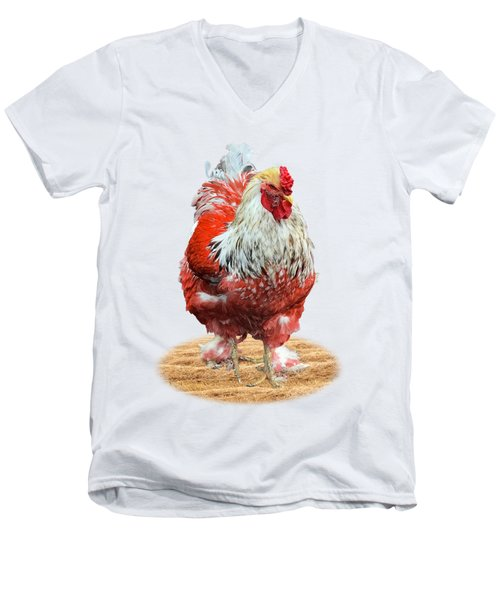 Big Red Rooster On White Men's V-Neck T-Shirt