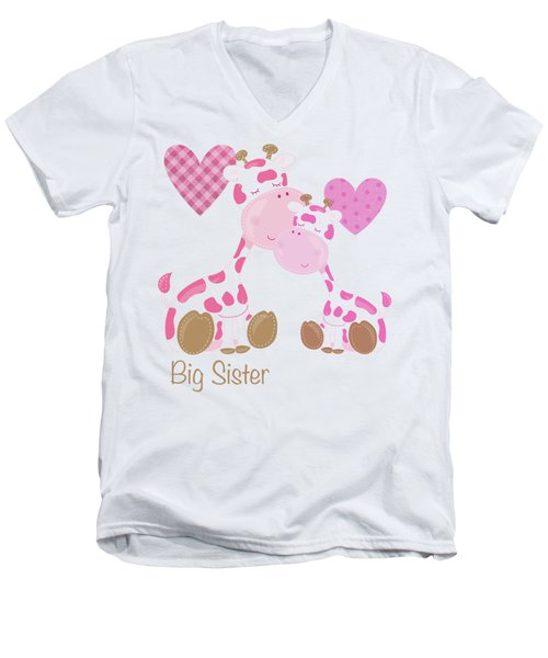 Big Sister Cute Baby Giraffes And Hearts Men's V-Neck T-Shirt by Tina Lavoie