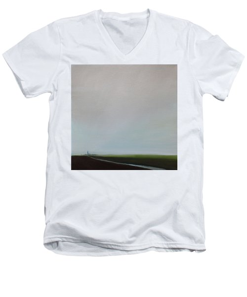Men's V-Neck T-Shirt featuring the painting Big Sky by Tone Aanderaa
