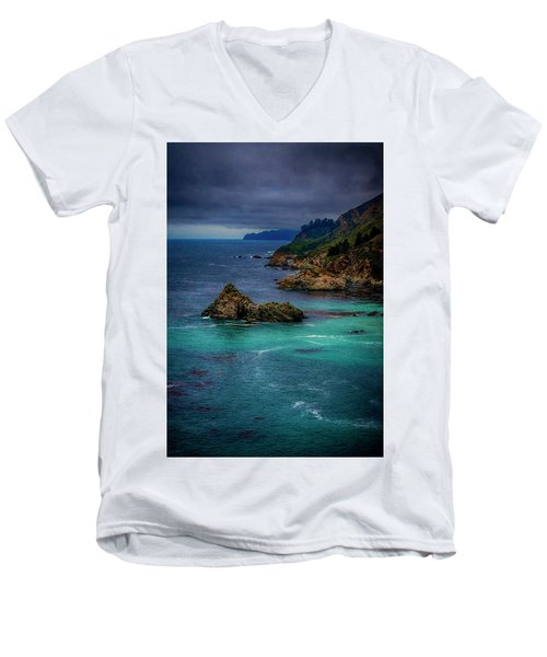Big Sur Coastline Men's V-Neck T-Shirt by Joseph Hollingsworth