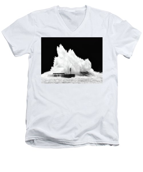 Big Wave Breaking On Breakwater Men's V-Neck T-Shirt