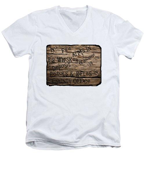 Big Whiskey Fire Arm Sign Men's V-Neck T-Shirt