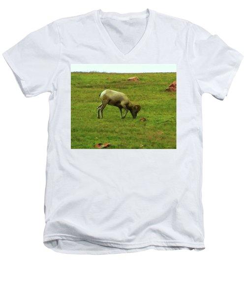Men's V-Neck T-Shirt featuring the digital art Bighorn Sheep Grazing by Chris Flees