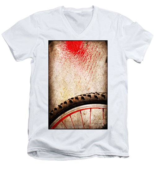 Bike Wheel Red Spray Men's V-Neck T-Shirt by Silvia Ganora