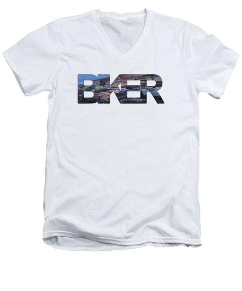 Biker Men's V-Neck T-Shirt by Priscilla Burgers