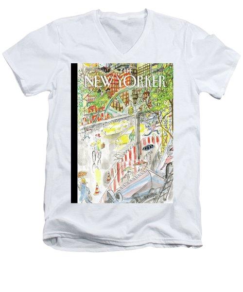 Biking In The Rain Men's V-Neck T-Shirt