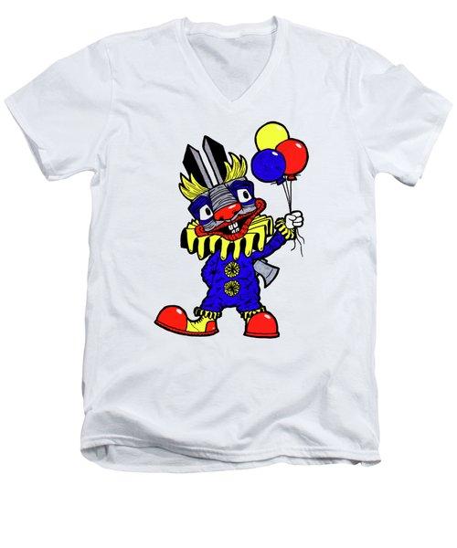 Binky The Bunny Clown Men's V-Neck T-Shirt by Bizarre Bunny