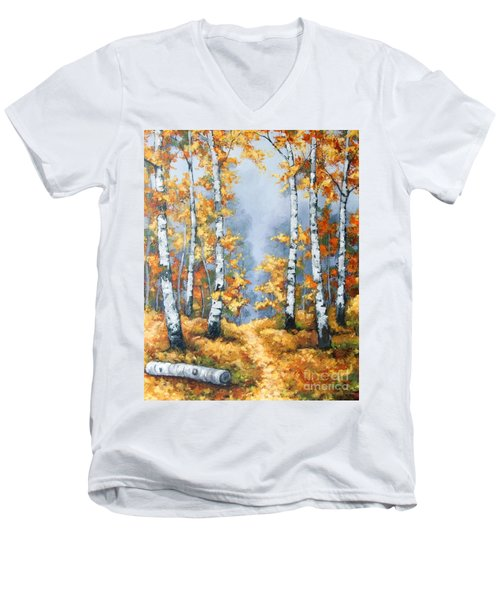 Birch Forest Path Men's V-Neck T-Shirt