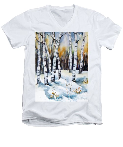 Men's V-Neck T-Shirt featuring the painting The White Of Winter Birch by Inese Poga