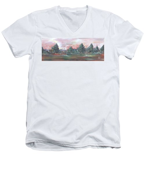 Birch Grove Men's V-Neck T-Shirt by Pat Purdy