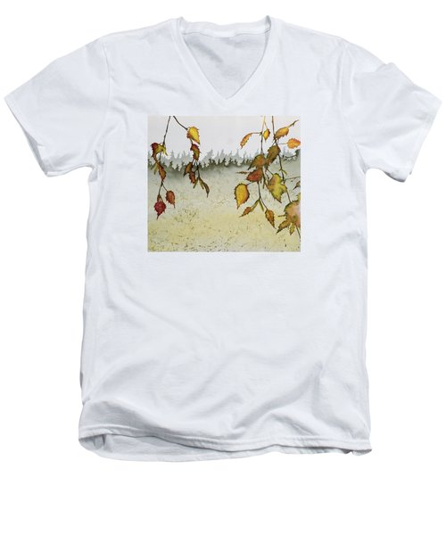 Birch In Autumn Men's V-Neck T-Shirt by Carolyn Doe