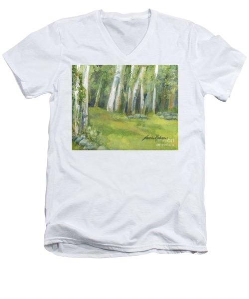Birch Trees And Spring Field Men's V-Neck T-Shirt