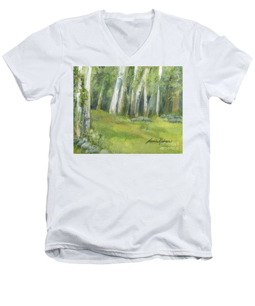 Birch Trees And Spring Field Men's V-Neck T-Shirt