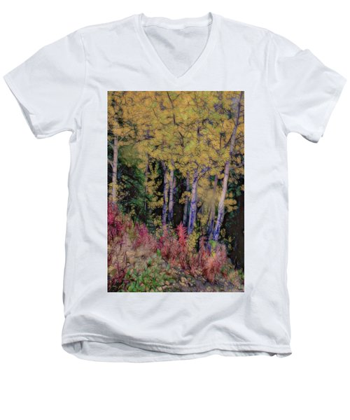 Birches At The Perch #1 Men's V-Neck T-Shirt