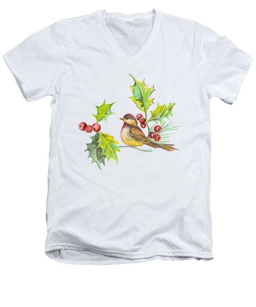 Bird Holly And Berries Men's V-Neck T-Shirt