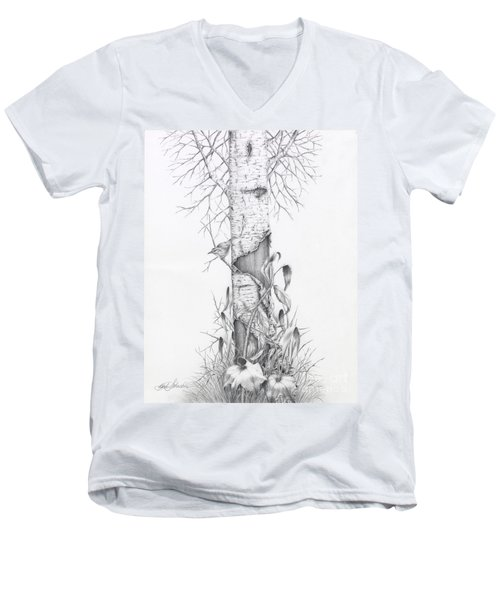 Bird In Birch Tree Men's V-Neck T-Shirt