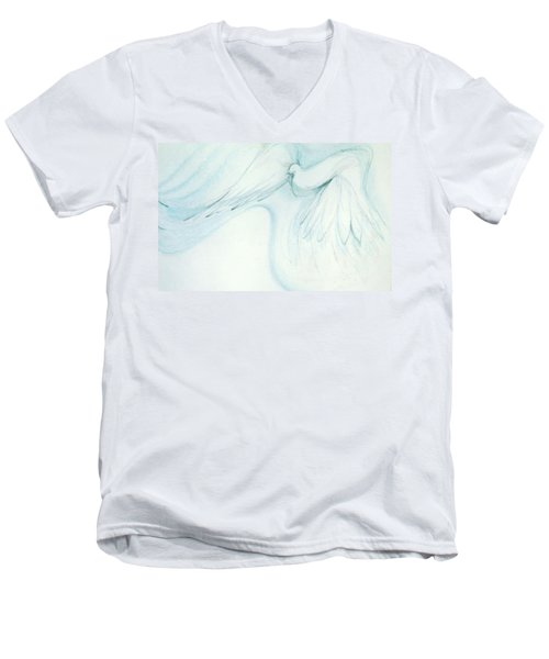 Men's V-Neck T-Shirt featuring the drawing Bird In Flight by Denise Fulmer