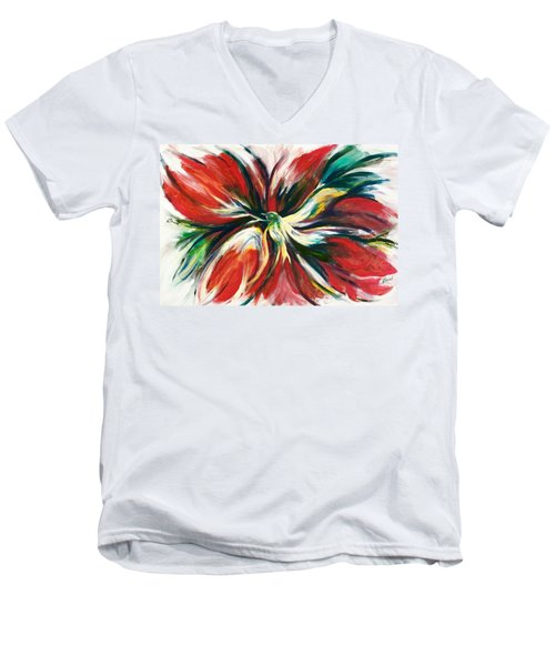 Men's V-Neck T-Shirt featuring the painting Bird Of Haven by Laila Awad Jamaleldin