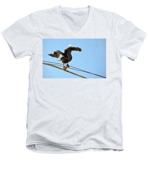 Men's V-Neck T-Shirt featuring the photograph Bird On The Wire by AJ Schibig