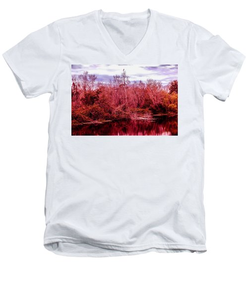 Men's V-Neck T-Shirt featuring the photograph Bird Out On A Limb 2 by Madeline Ellis