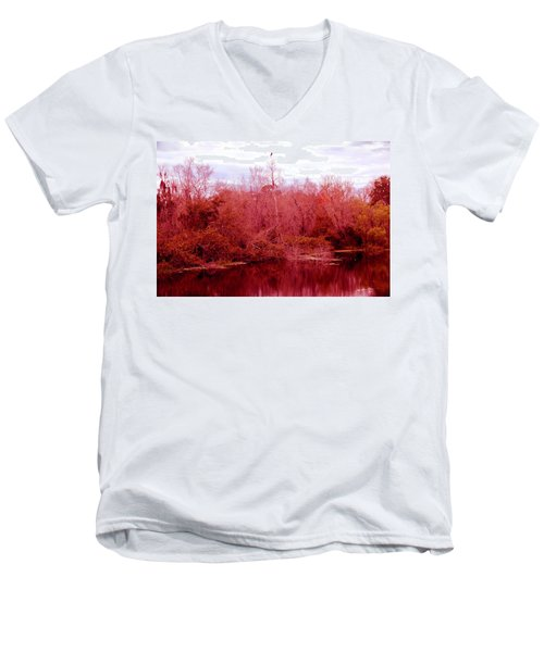Men's V-Neck T-Shirt featuring the photograph Bird Out On A Limb by Madeline Ellis