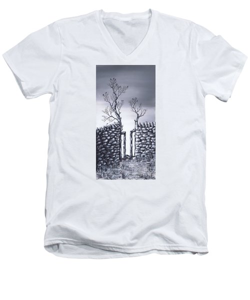 Men's V-Neck T-Shirt featuring the painting Bird Tree by Kenneth Clarke