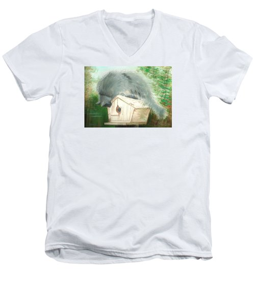 Men's V-Neck T-Shirt featuring the painting Birdie In The Hole by Denise Fulmer