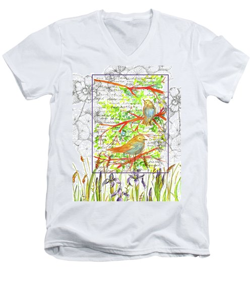 Men's V-Neck T-Shirt featuring the painting Bluebirds Nature Collage by Cathie Richardson