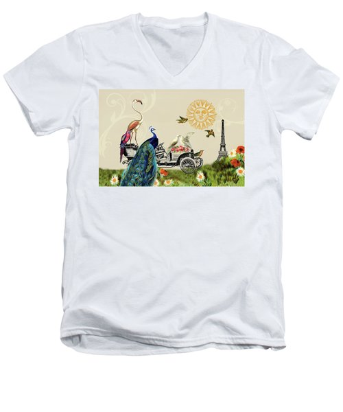 Birds Of A Feather In Paris, France Men's V-Neck T-Shirt