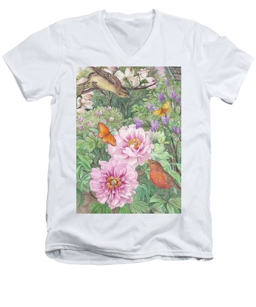 Men's V-Neck T-Shirt featuring the painting Birds Peony Garden Illustration by Judith Cheng