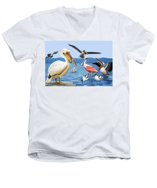 Birds With Strange Beaks Men's V-Neck T-Shirt