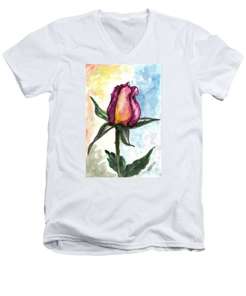Men's V-Neck T-Shirt featuring the painting Birth Of A Life by Harsh Malik